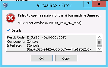 virtualbox VT-x not available
